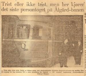 Siste persontog på Ålgårdbanen 31. Oktober 1955. Toget ble fremført med motorvogn type BM 86.