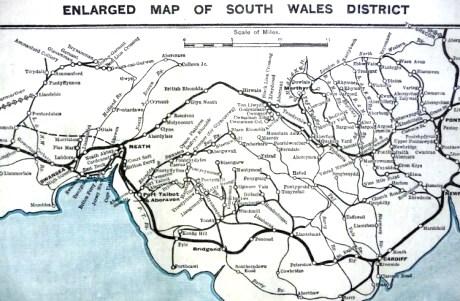 Rutenettet i Søndre Wales før nedleggingsbølgen på 1960-tallet
